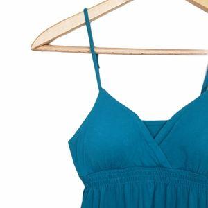 🇺🇸 Pink Rose Small Blue V-neck Ruffel Dress